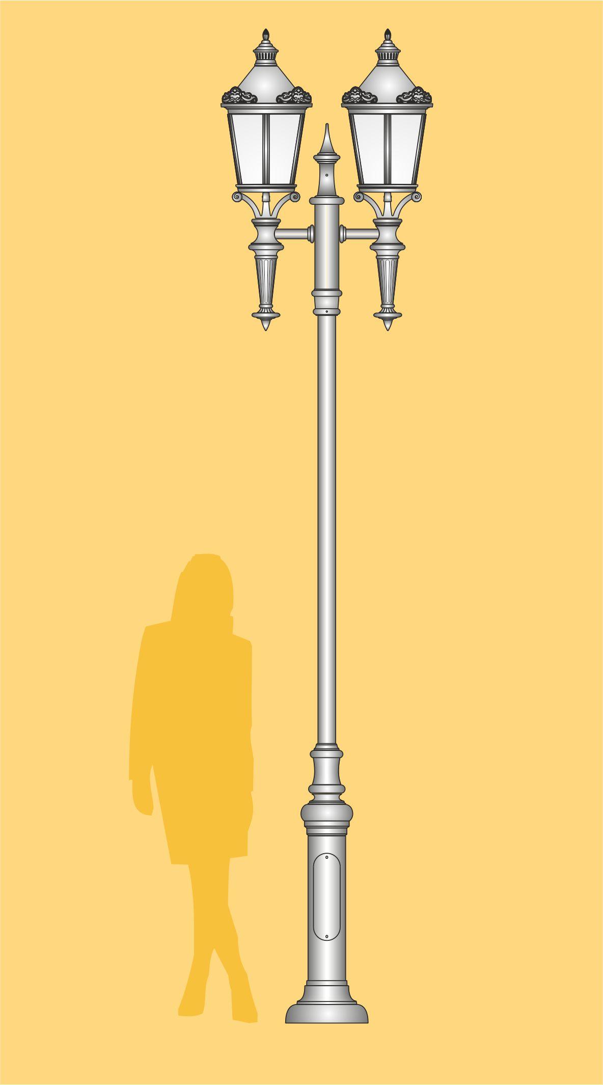 Lampa uliczna w stylizacji retro, z oprawami typu Mars